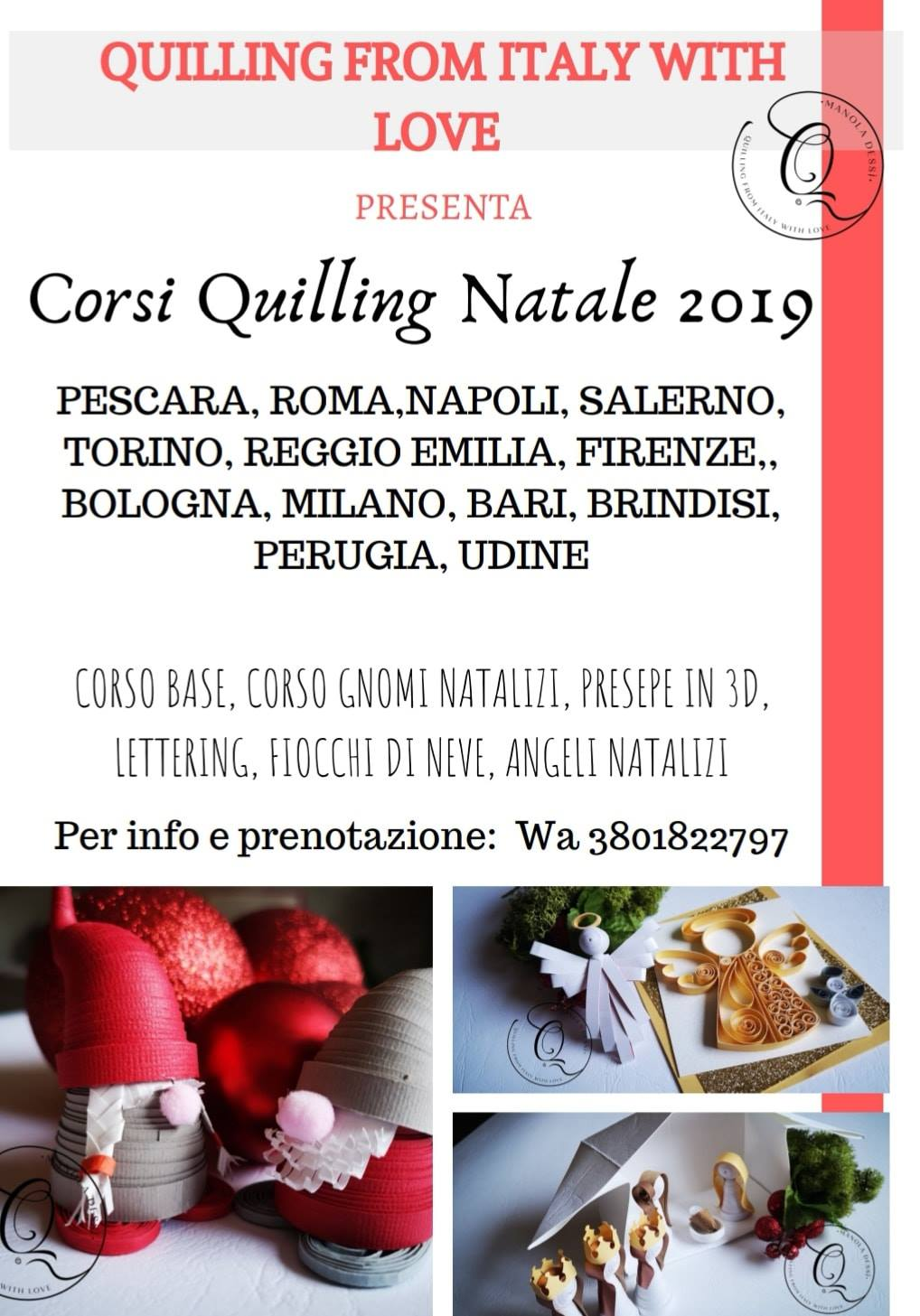 corsi quilling natale 2019