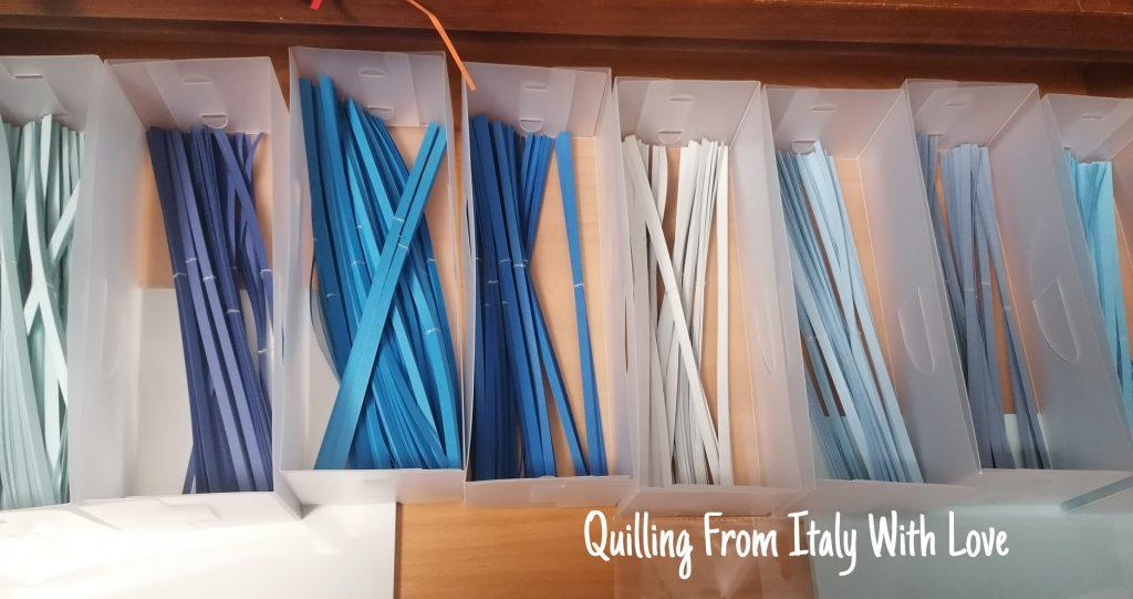 aprire un e-commerce di quilling, strisce di cartoncino da 220gr nelle tonalità del blu