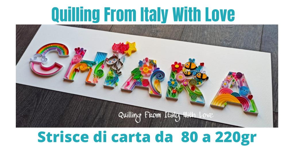 Scelta della carta nel quilling, lavoro realizzato da Manola Dessì con strisce di carta da 80 gr fino a 220gr